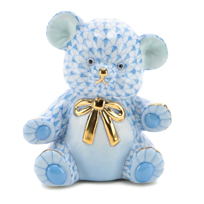 "Herend Blue Fishnet with Gold ""Teddy Bear"" Porcelain Figurine"