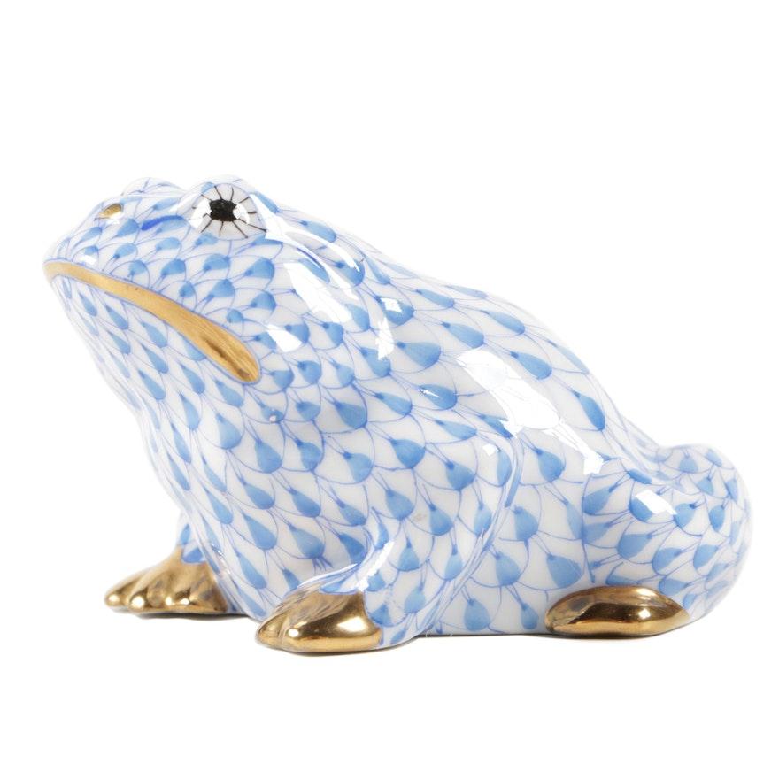 """Herend Blue Fishnet with Gold """"Frog"""" Porcelain Figurine"""