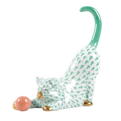 "Herend Green Fishnet with Gold ""Cat with Ball"" Porcelain Figurine, November 1992"