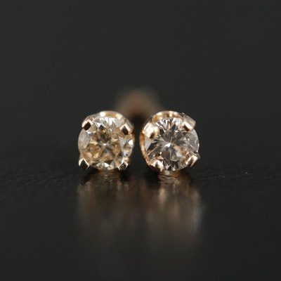 14K Yellow Gold 0.15 CTW Diamond Stud Earrings