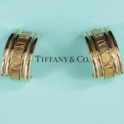 """Tiffany & Co. """"Atlas"""" 18K Yellow Gold J Hoop Earrings"""