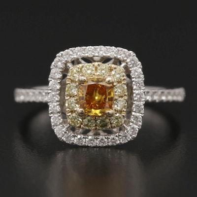 14K White Gold 1.06 CTW Diamond Double Halo Ring