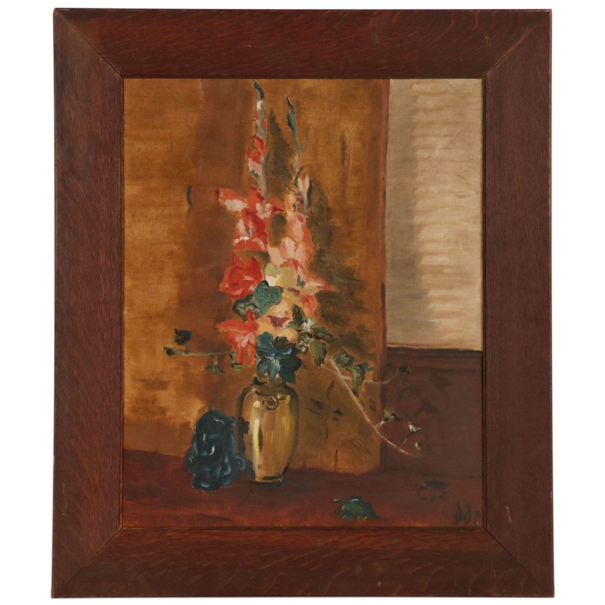 Floral Still Life Oil Painting, 1946