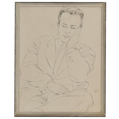 Barbara Swan Ink Portrait of Male Figure, 1953