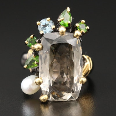 Sterling Silver Smoky Quartz, Diopside and Cultured Pearl Ring