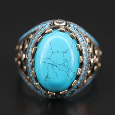 Sterling Silver Imitation Turquoise and Glass Ring Featuring Crown Motif