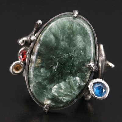 Sterling Silver Agate and Glass Ring Featuring Undersea Motif
