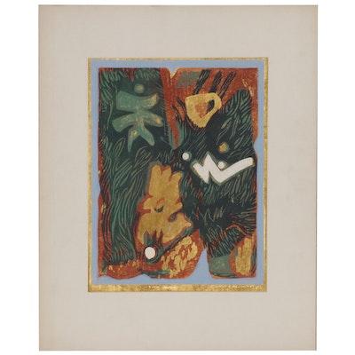 """Leonard Maurer Woodcut """"Gold Message"""""""