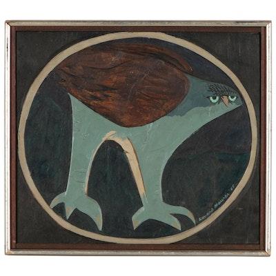 Leonard Maurer Oil Painting of Abstract Bird, 1965