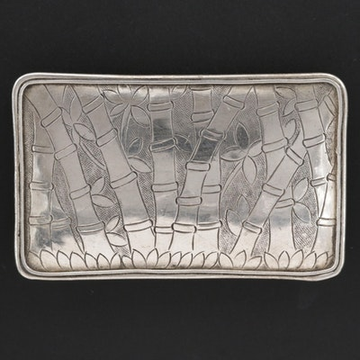 Sterling Bamboo Motif Rectangular Brooch
