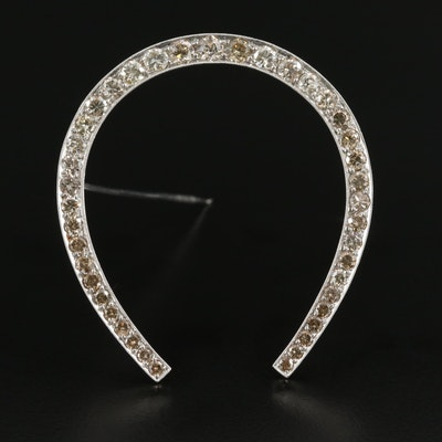 Vintage Platinum 4.59 CTW Diamond Lucky Horseshoe Brooch