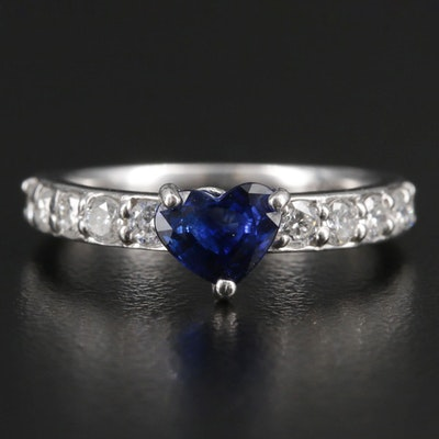Platinum Ring with Heart Faceted Sapphire and Diamond Shoulders