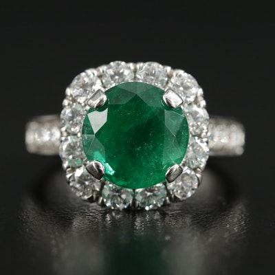 18K White Gold 3.33 CT Emerald and 1.10 CTW Diamond Halo Ring