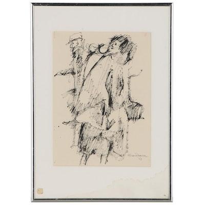 Leonard Maurer Figural Ink Drawing, 1963