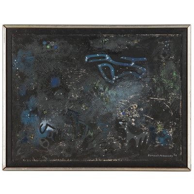 "Leonard Maurer Abstract Oil Painting ""Night Sky"", 1966"