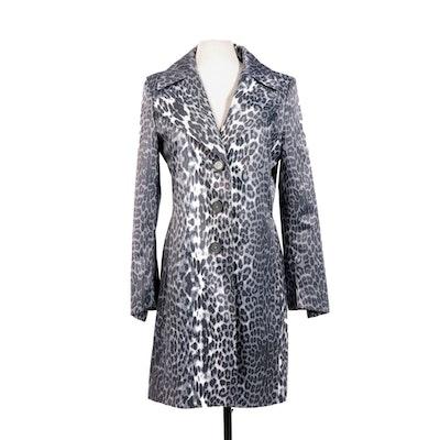 Tahari Snow Leopard Print Sateen Jacket with Notch Collar