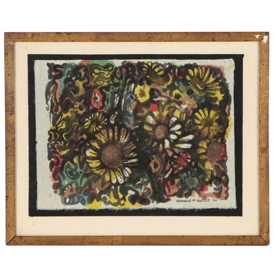 Leonard Maurer Watercolor Painting of Flowers, 1960