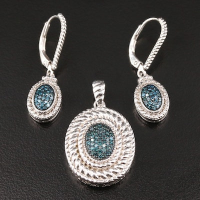 Sterling Silver Blue Diamond Pendant and Earrings