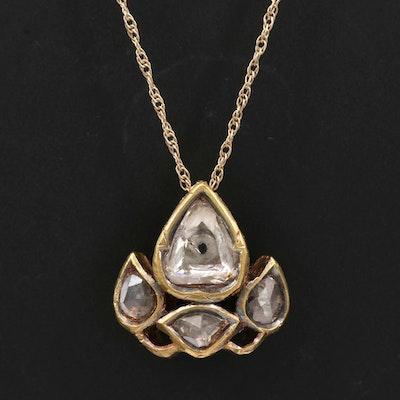 Mughal Style Sterling Diamond and Cloisonné Pendant on 14K Serpentine Chain