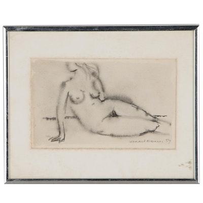 Leonard Maurer Figural Ink Wash Drawing, 1957