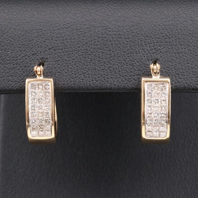 14K Gold 1.10 CTW Diamond Hoop Earrings