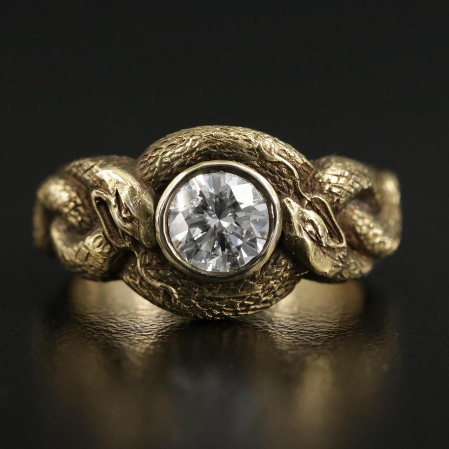 14K Yellow Gold Diamond Double Serpent Ring