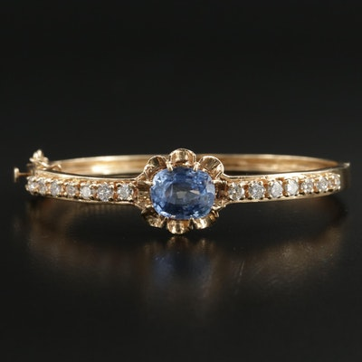 Vintage 14K Yellow Gold 7.54 CT Sapphire and 1.33 CTW Diamond Bracelet