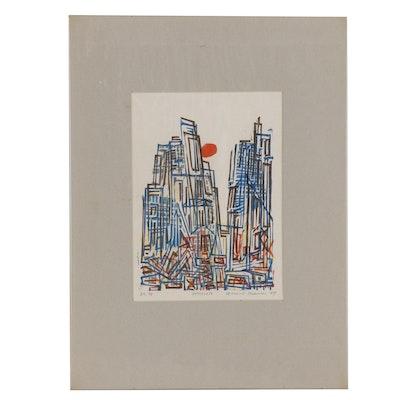 "Leonard Maurer Woodcut ""Small Cityscape"", 1967"