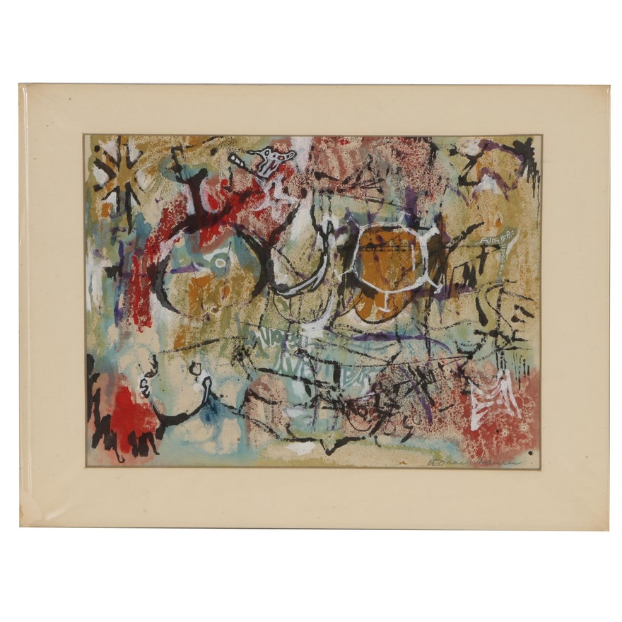 """Leonard Maurer Abstract Watercolor Painting """"Artifacts"""""""