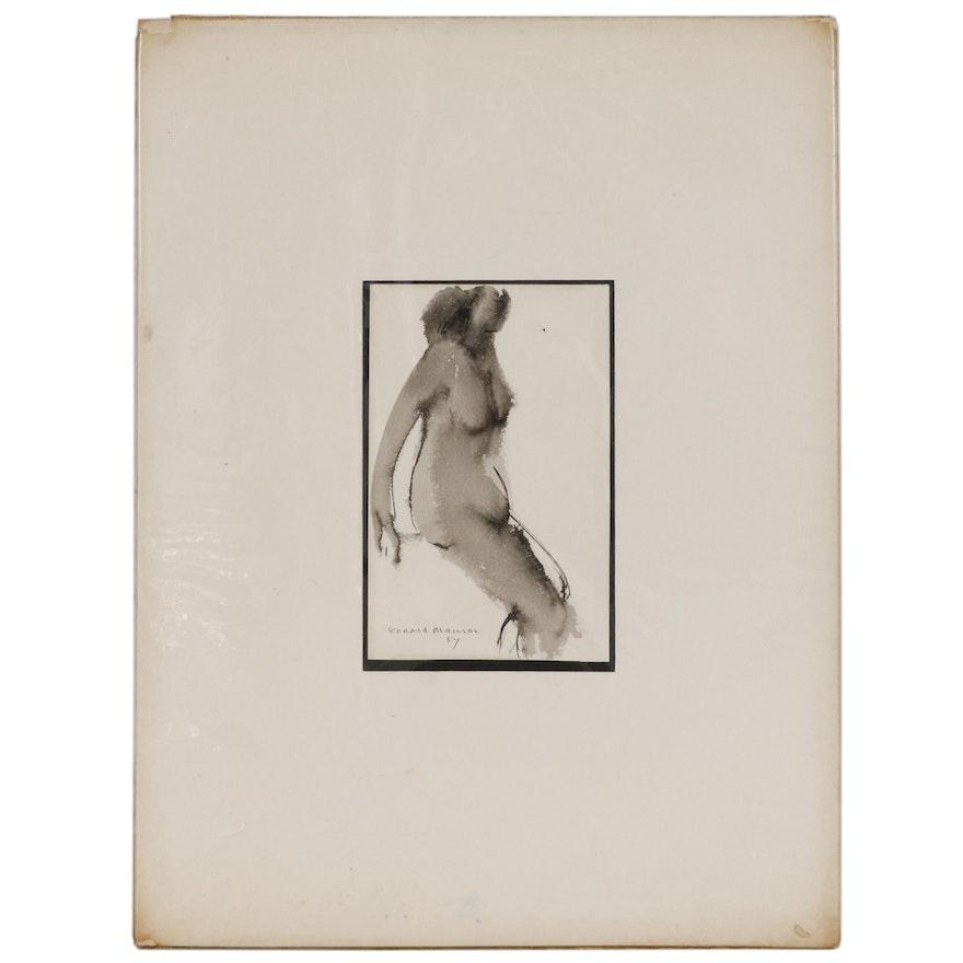 "Leonard Maurer Ink Wash Figure Study ""Nude"", 1957"