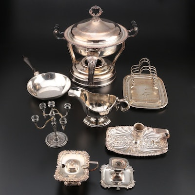 Silver Plate Chafing Dish with Other Table Accessories