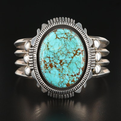 George Begay Navajo Diné Sterling Silver Turquoise Cuff Bracelet