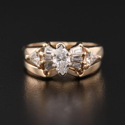 14K Yellow Gold Diamond Ring Set
