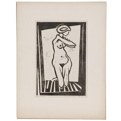 Leonard Maurer Woodcut of Kneeling Female Nude