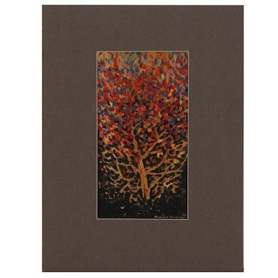 Leonard Maurer Acrylic Painting of Abstract Tree, 1973