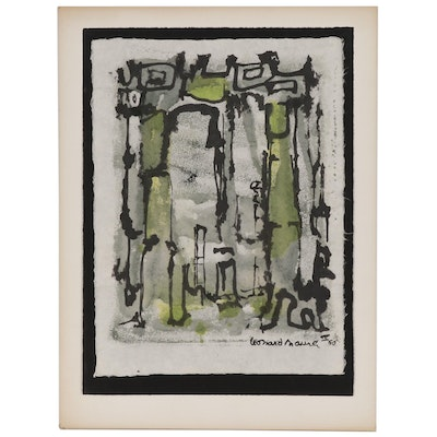 Leonard Maurer Abstract Ink and Watercolor Painting, 1960