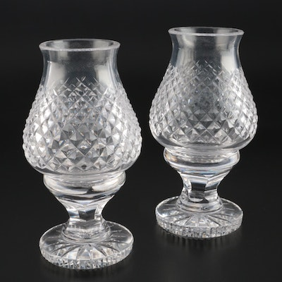 "Pair of Waterford Crystal ""Alana"" Candle Holders with Hurricane Shades"