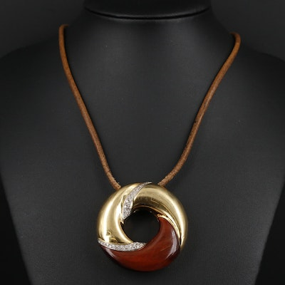 Roberto Coin 18K Gold Diamond and Tiger's Eye Pendant on Leather Cord