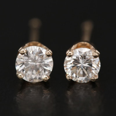 14K Yellow Gold 0.37 CTW Diamond Solitaire Stud Earrings