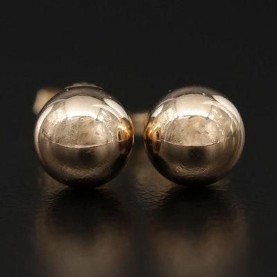 14K Yellow Gold Sphere Stud Earrings