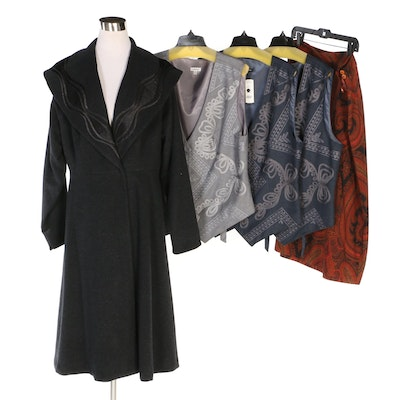 J. Peterman Mysterious Lapel Coat, Vests and Skirt with Original Tags