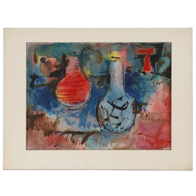 Leonard Maurer Abstract Still Life Ink and Watercolor Painting