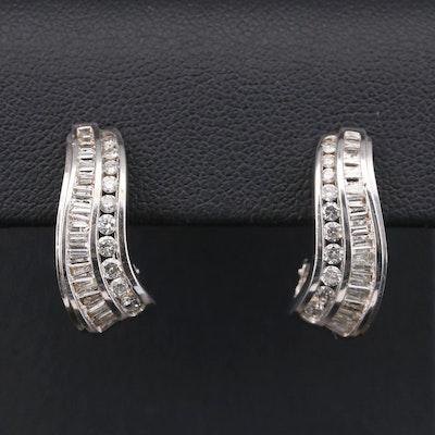 14K White Gold 1.00 CTW Diamond J Hoop Earrings