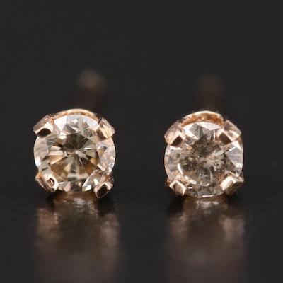 14K Yellow Gold 0.22 CTW Diamond Stud Earrings