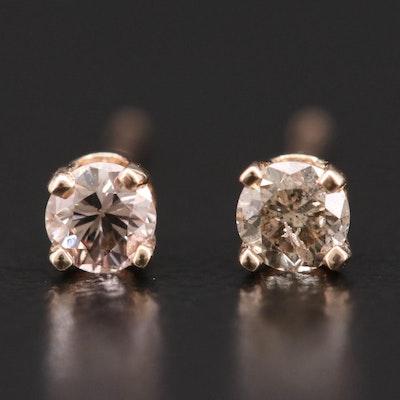 14K Yellow Gold 0.15 CTW Diamond Stud Earrings