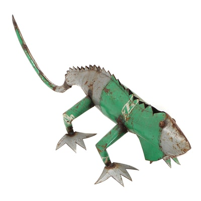 Mexican Folk Art Scrap Metal Iguana Sculpture