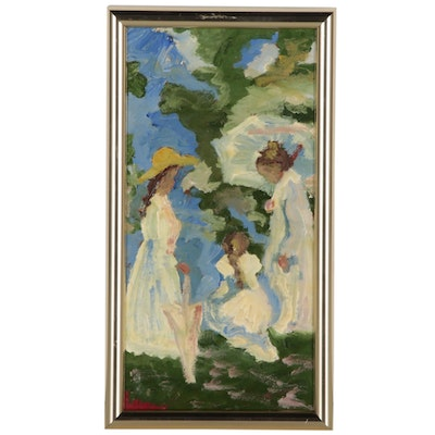 Impressionist-Style Oil Painting, Late 20th Century
