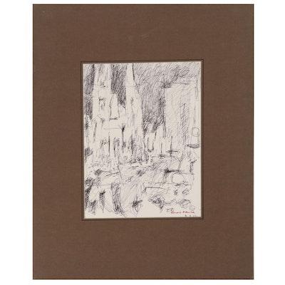 "Leonard Maurer Abstract Ink Drawing ""Vienna"", 1972"