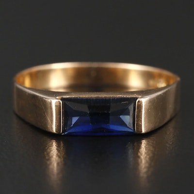 14K Gold Synthetic Sapphire Ring