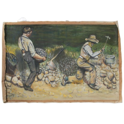 "Farnoosh Lanjani Oil Painting after Gustave Courbet ""The Stonebreakers"""